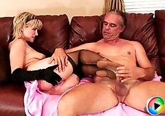 Sexy babe with amazing feet jerking cock