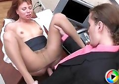 Alice&Mike office pantyhose movie