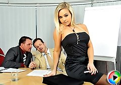 Two guys double stuffing their female boss