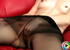 Teen caressing her little pussy under black tights